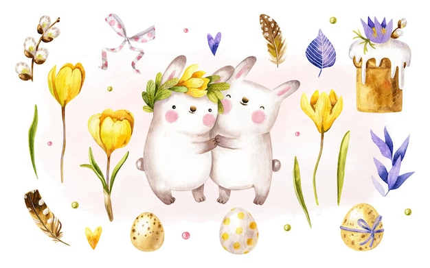 Watercolor easter elements collection with bunnies