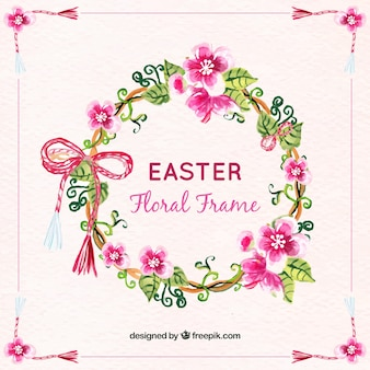 Watercolor easter floral crown backgroundwatercolor easter floral wreath background