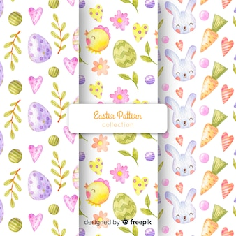 Watercolor easter pattern collection