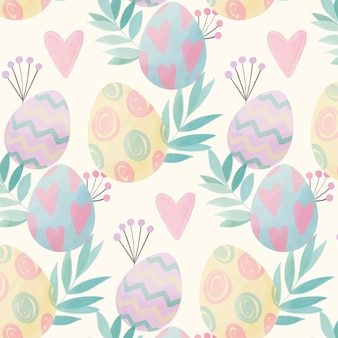 Watercolor easter pattern with eggs and leaves