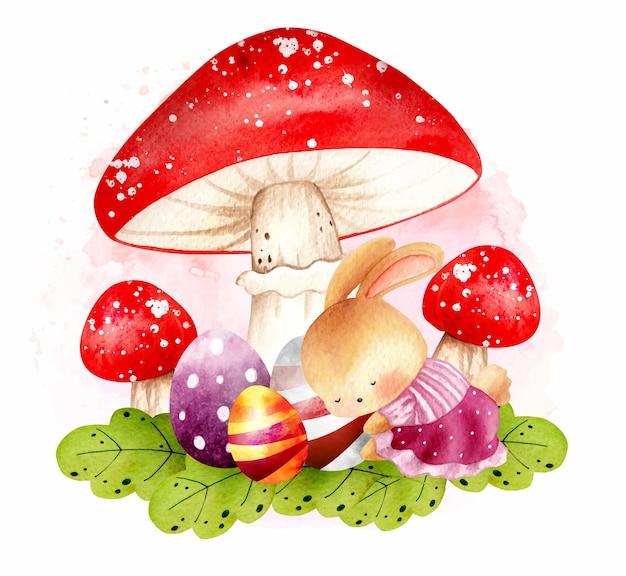 卵と一緒に寝ている水彩イースターウサギ