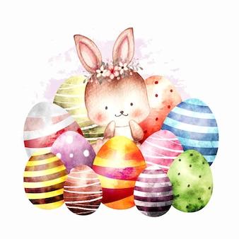 卵と水彩イースターウサギ