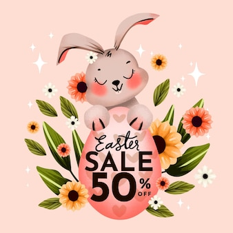 Watercolor easter sale illustration
