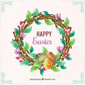 Watercolor easter wreath background