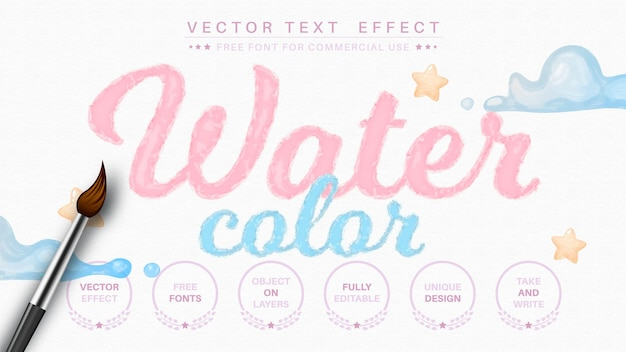Watercolor editable text effect font style