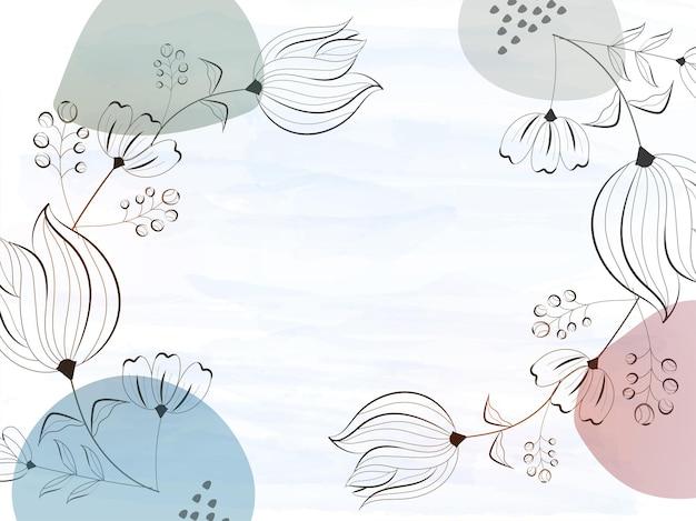線画花で飾られた水彩効果の背景。