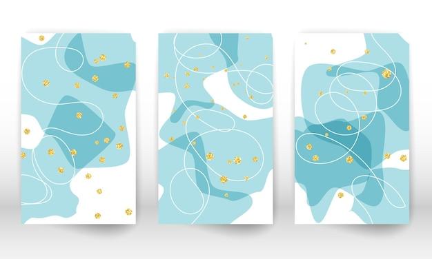 Обложка дизайна с эффектом акварели. набор абстрактных рисованной геометрических фигур. линии каракули, золотые частицы.