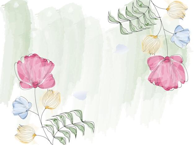 水彩効果花の抽象的な背景。