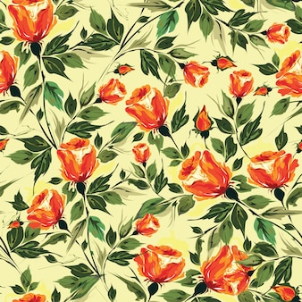 Watercolor effect rose flower decorated seamless pattern backgro