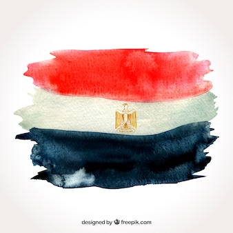 Watercolor egyptian flag compositio