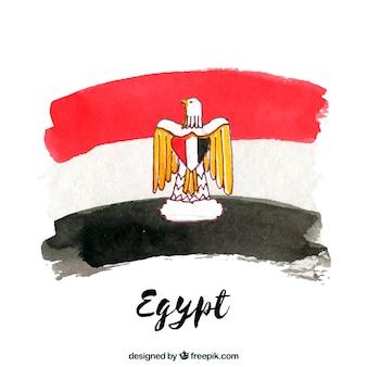 Watercolor egyptian flag compositio