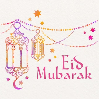 Watercolor eid mubarak with hanging candles and stars