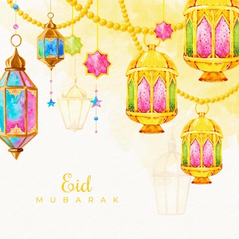 Watercolor eid mubarak with hanging candles