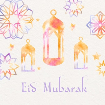 Watercolor eid mubarak with lanterns and stars ornaments