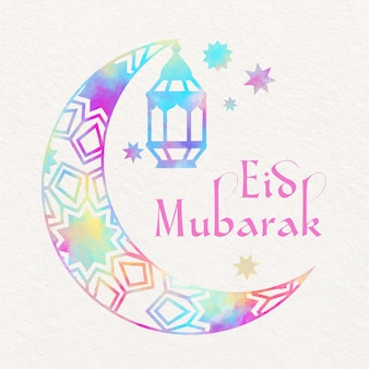 Watercolor eid mubarak with moon and hanging candle
