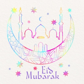 Watercolor eid mubarak with moon and mosque