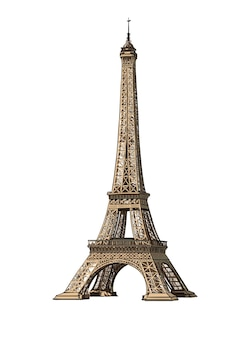 Watercolor eiffel tower on white