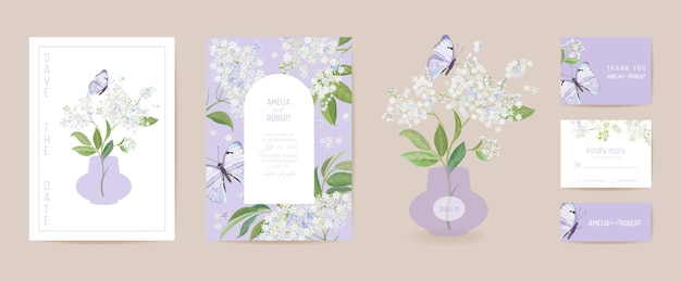 Цветочная свадебная открытка акварель бузины и бабочки. вектор белые весенние цветы приглашение. рамка шаблона бохо. обложка листвы botanical save the date, современный дизайн плаката