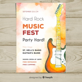 Watercolor electric guitar music festival poster