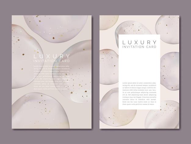 ゴールドホイル効果と水彩のエレガントな抽象的な招待カード