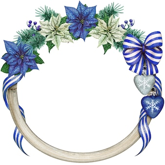 Watercolor elegant christmas wreath with blue poinsettia and decorations