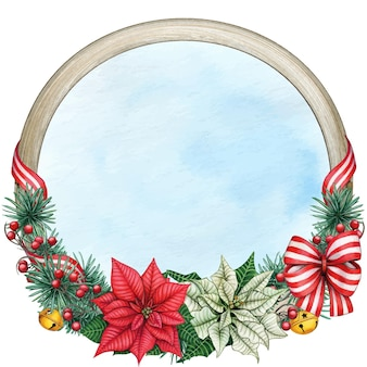 Watercolor elegant christmas wreath with poinsettia and decorations