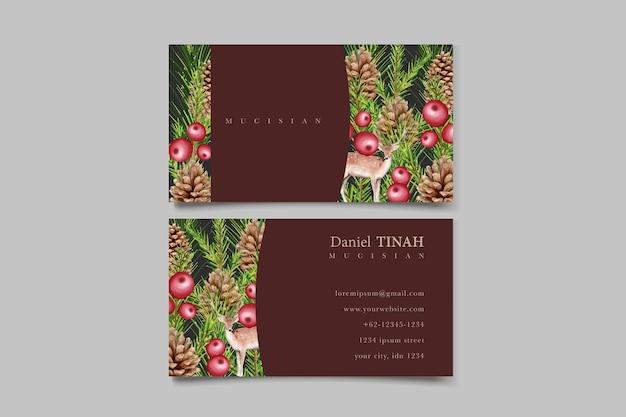 Акварельный элегантный рождественский венок с красным цветком и украшениями