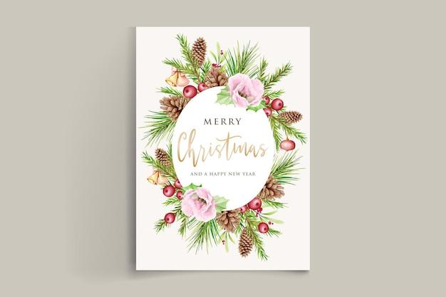 Elegante ghirlanda natalizia ad acquerello con fiore rosso e decorazioni