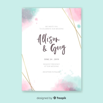 Watercolor elegant invitation card template