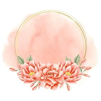 水彩のエレガントな素敵な花のフレーム Premiumベクター