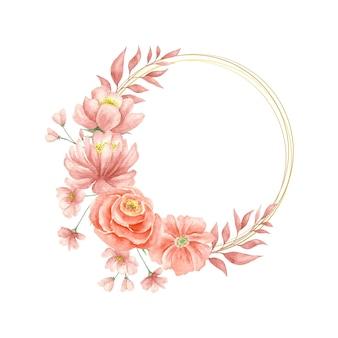 水彩のエレガントな素敵な花のフレーム