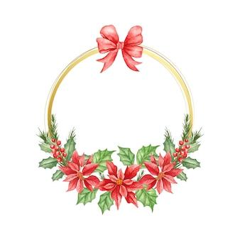 Watercolor elegant style decorative christmas wreath