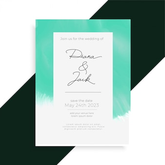 Watercolor elegant wedding invitation card template
