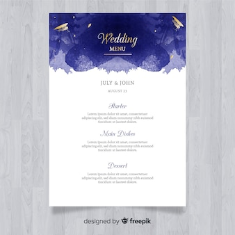 Watercolor elegant wedding menu template