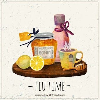 Watercolor elements for a flu