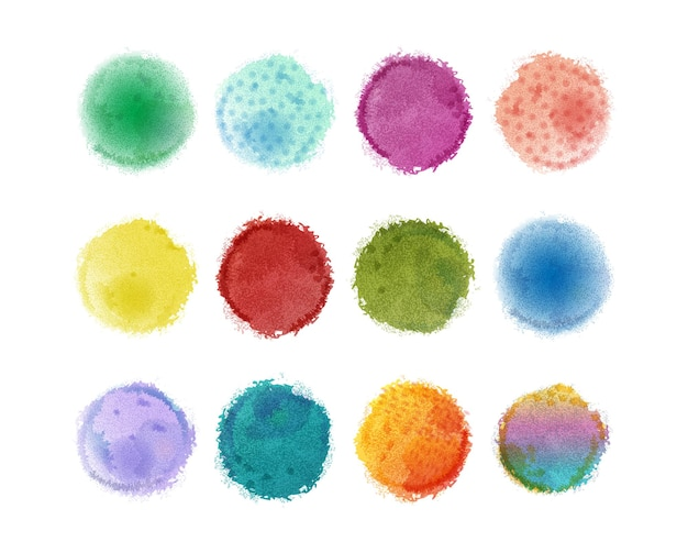 デザインのための水彩要素。水彩の染み。カラフルな水彩画