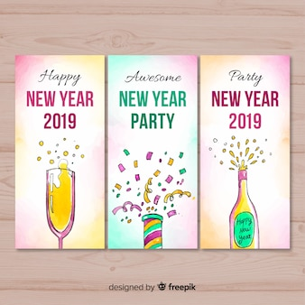 Watercolor elements new year card collection