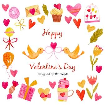 Watercolor elements valentine background