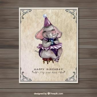 Акварель слон открытка на день рождения