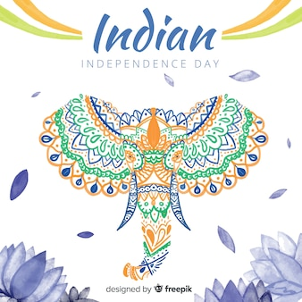 Watercolor elephant india independence day background