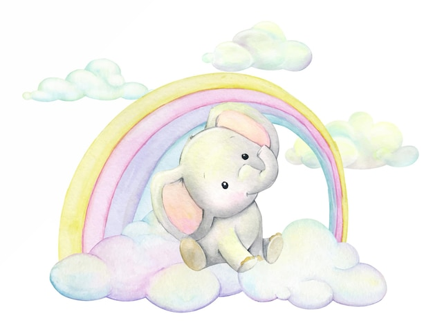 Watercolor elephant sitting on clouds, on a background of multicolored rainbows