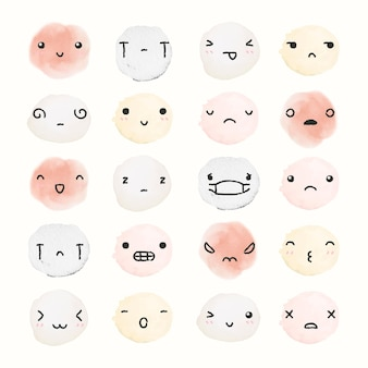 Watercolor emoticon design element vector with diverse feelings in doodle style set