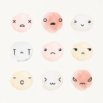 Watercolor emoticon design element  with diverse feelings in doodle style set