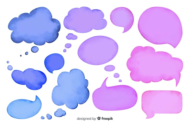 Watercolor empty speech bubble collection