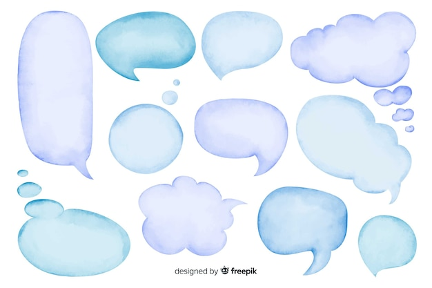 Watercolor empty speech bubble set