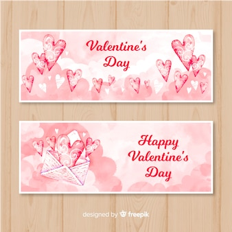 Watercolor envelope valentine's day banner