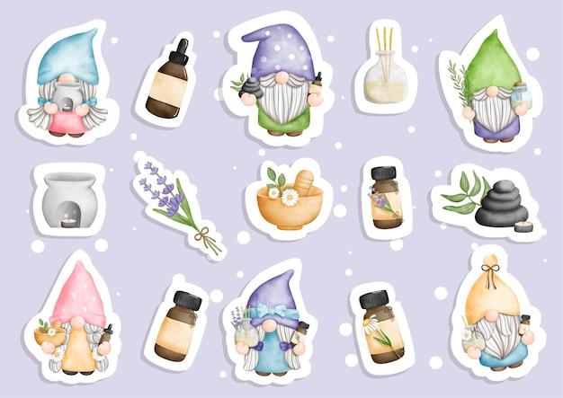 Watercolor essential oil spa gnomes sticker planner and scrapbook Premium Vector