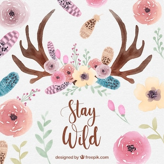Watercolor ethnic background with floral style