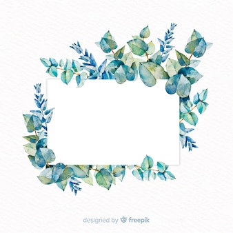 Watercolor eucalyptus banner with blank banner