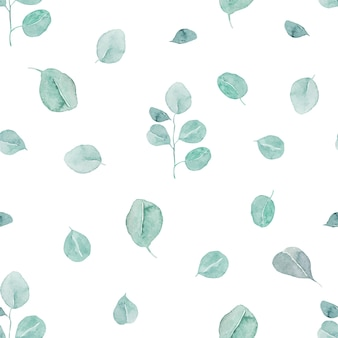 Watercolor eucalyptus branches and leaves seamless pattern